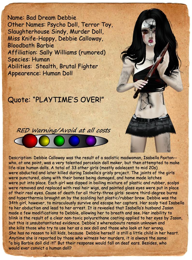 Creepypasta Journal Entries  Bad Dream Debbie by MrAngryDogCreepypasta Character Profiles