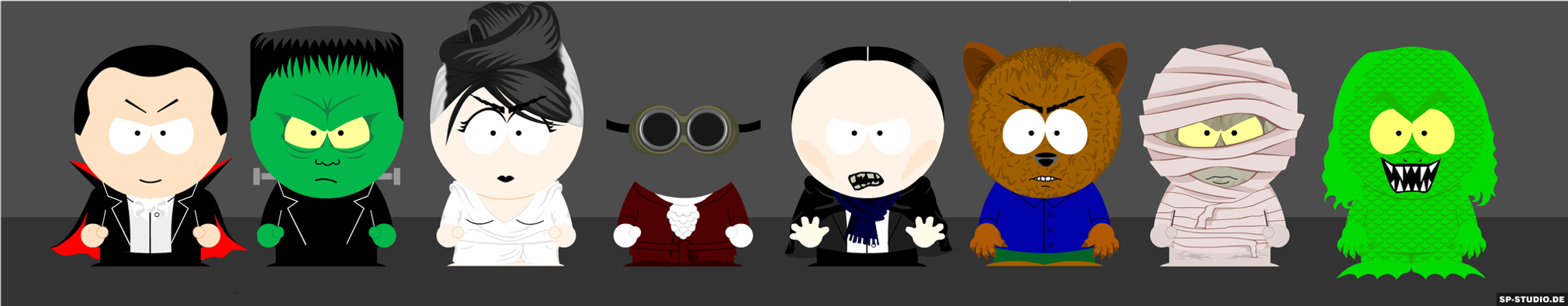 South Park-Style Classic Horror Movie Monsters by MrAngryDog
