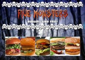 Five Monsters Burgers N' Fries Advertisement by FearOfTheBlackWolf