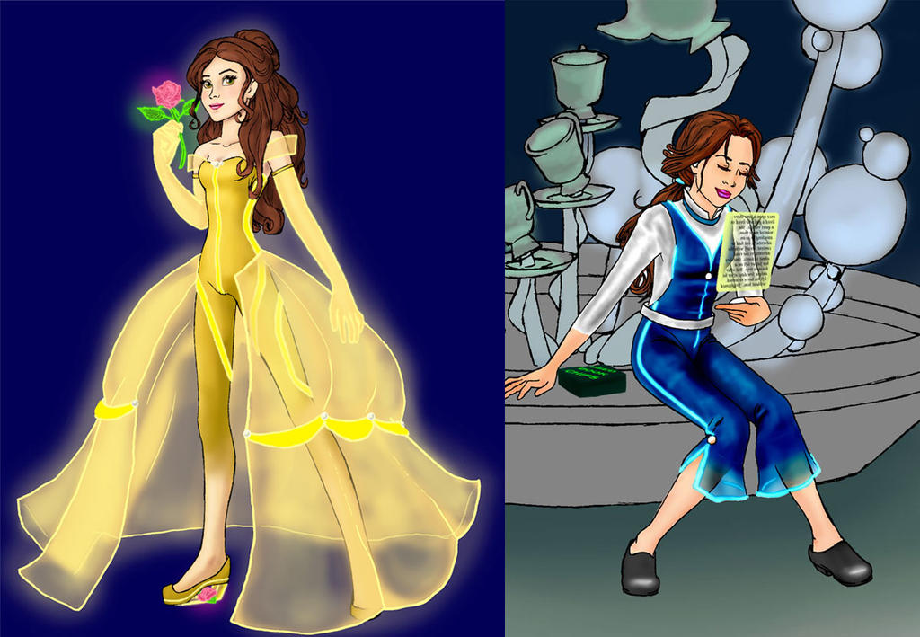 Future Belle yellow and blue by HollyRoseBriar