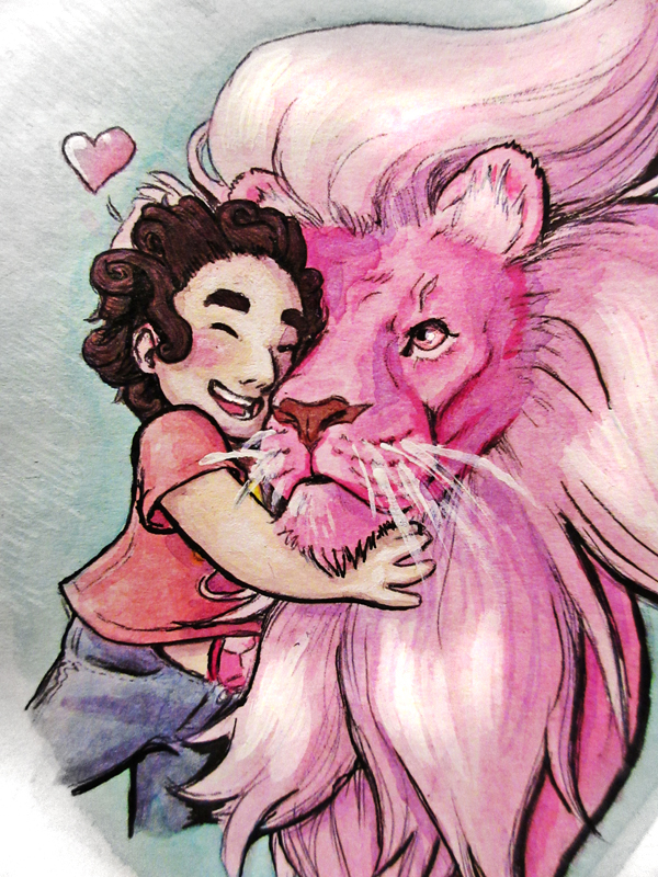 Steven and his lion I've wanted to do this image for a while Made with some of my new colored inks (and a dob of paint here and there