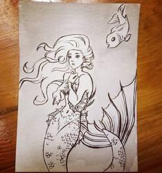 Mermaid Ink Sketch ACEO