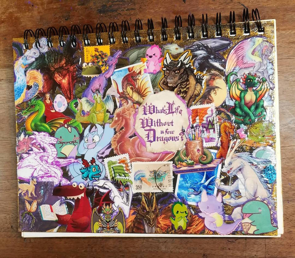 Dragon Collage sketchbook cover is FINISHED