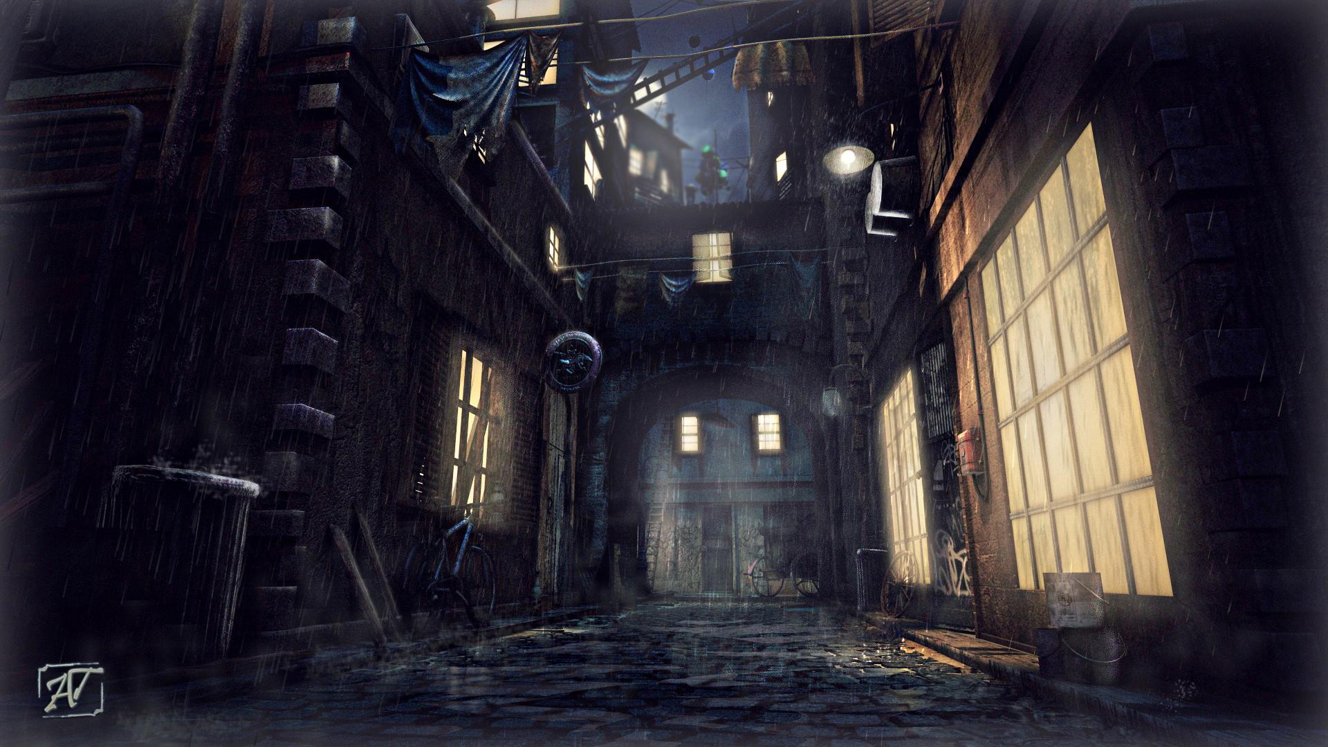 AlleyWay NightShot Rainy by AhmadTurk