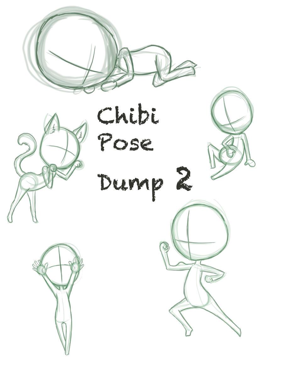 Chibi Body Sitting Poses Sketch Coloring Page