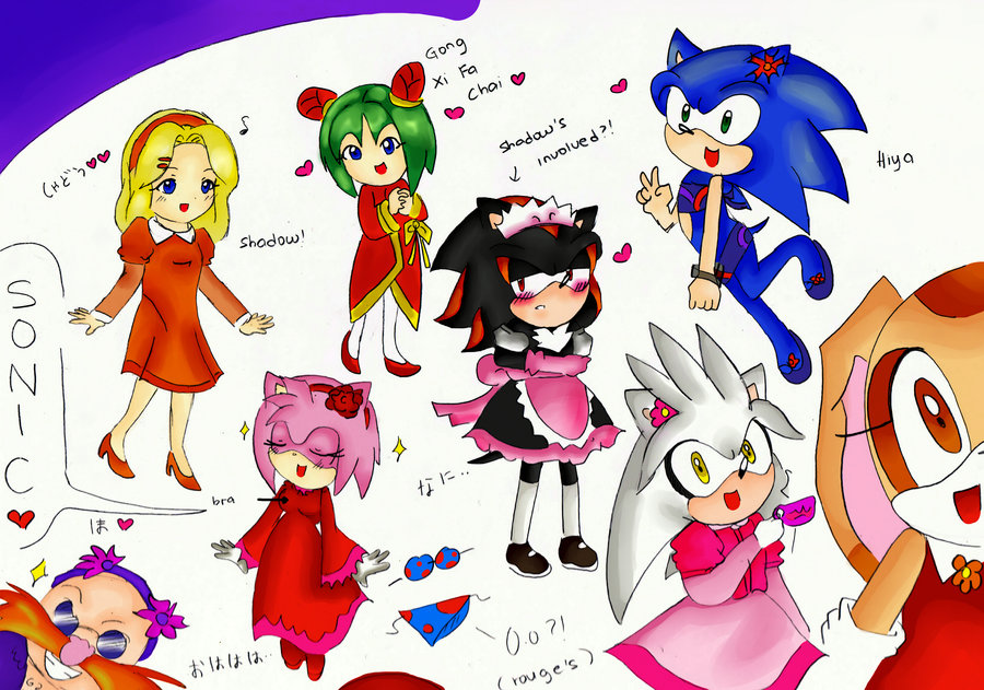 Sonic Anime Characters : Sonic characters in random dresses by erine chan
