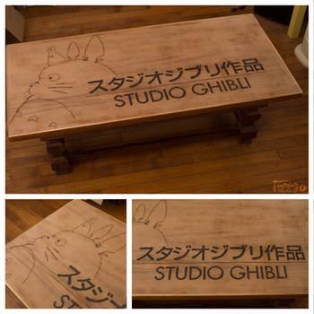 Ghibli - Table pyrography by StudioTamago