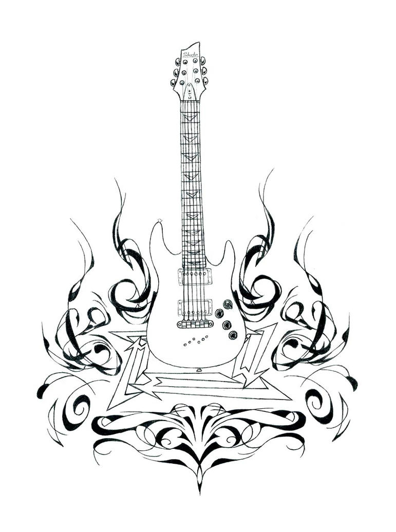 Guitar And Flames Detail By AngryLandon