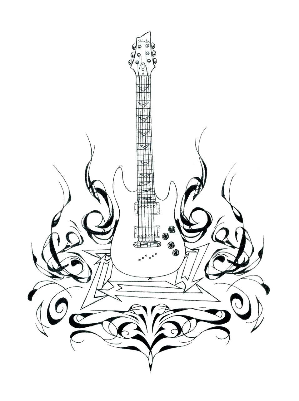 guitar and flames detail by angrylandon traditional art drawings other    Acoustic Guitar Drawing Tattoo