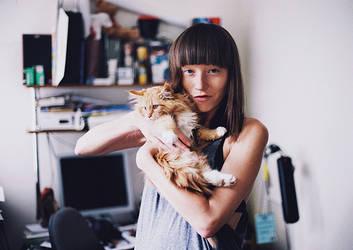 Me and my still nameless cat by stefa-zozokovich