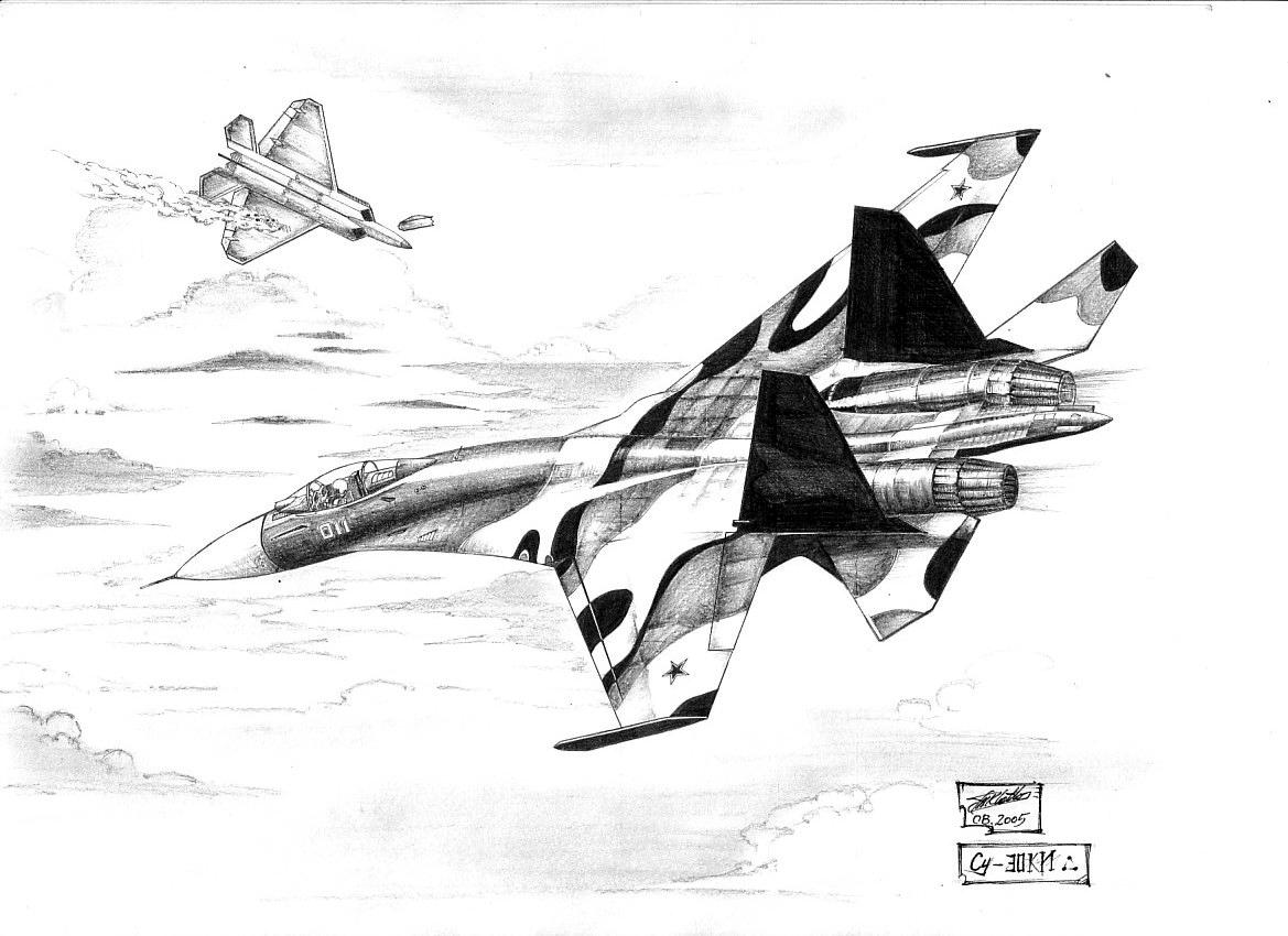 Su-30 vs. F-22A by red...F 22 Drawing