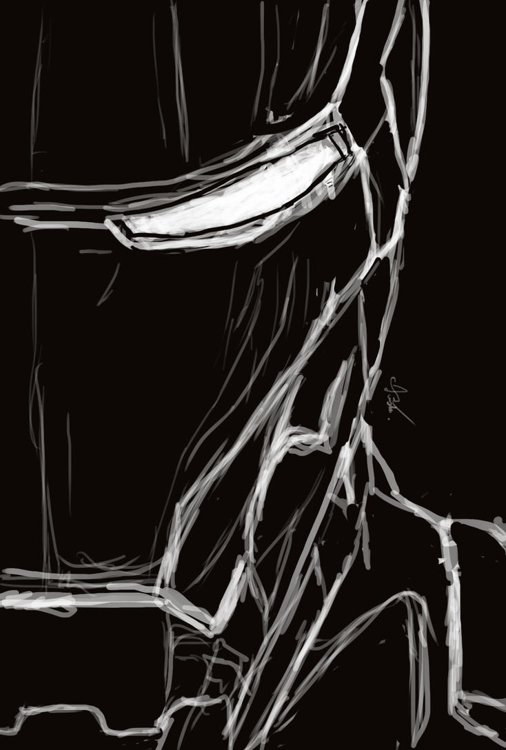 Iron Man Black And White By Drastic Art