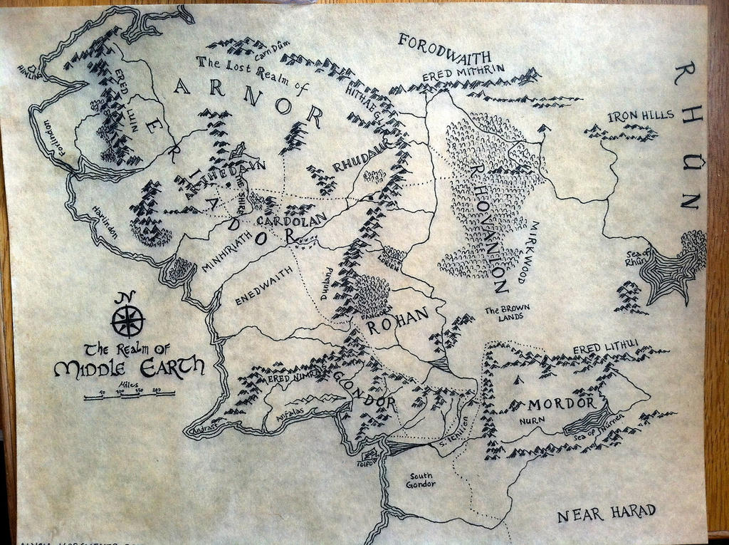 map of middle earth by alysiagail