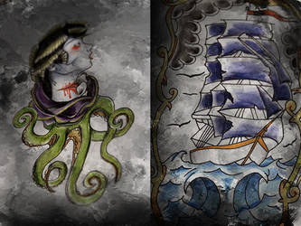 Tentacle Lady and Ship by ass-itch