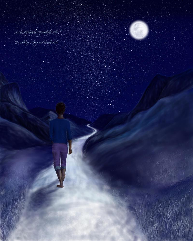 Midnight Moonlight Reflection Background PSD - WeLoveSoLo