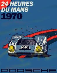 Porsche 917 Pen and Ink Poster by CarraraDesign