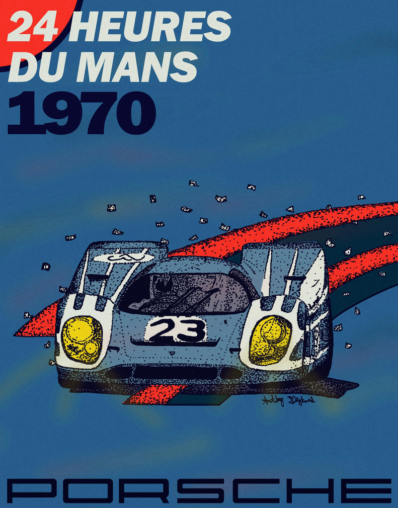 Porsche 917 Pen And Ink Poster By Carraradesign On Deviantart