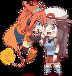 Chibi Leaf and Charizard