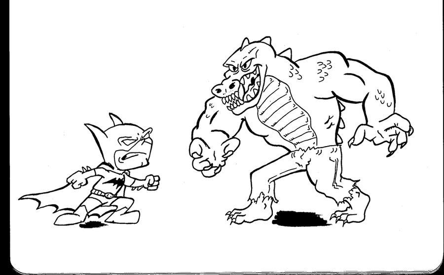 Chibi Batman vs Killer Croc by PlummyPress on DeviantArt