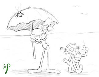 Ms Chalice And Sally Stageplay at the Beach by spongesquirrel44