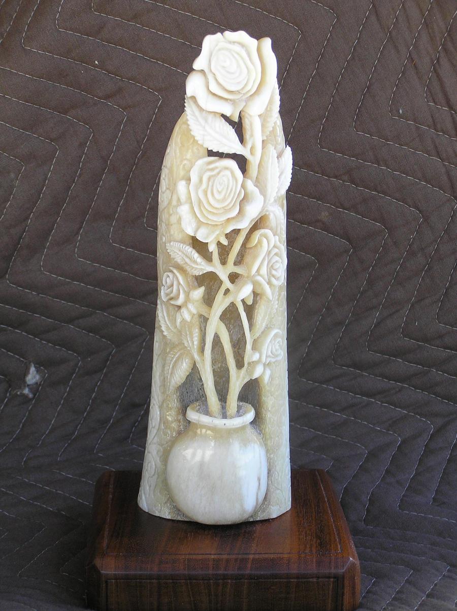The rose sculpture by bonecarverpm on deviantart