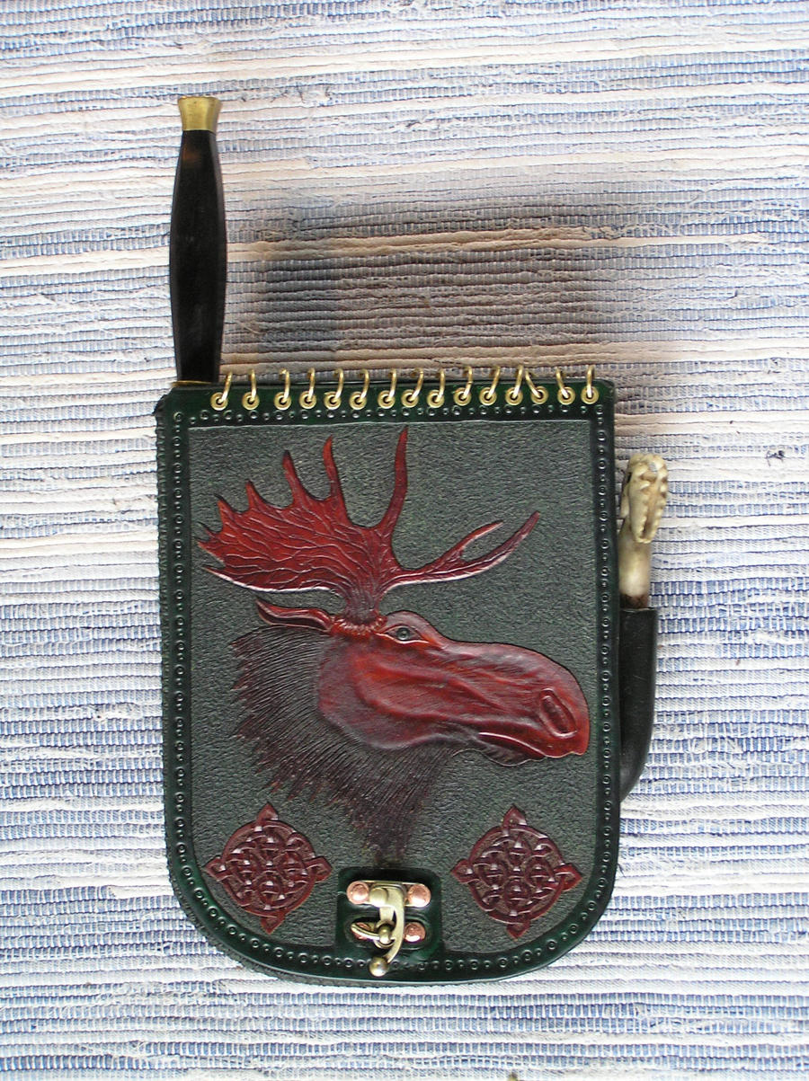 Leather pouch with moose by Bonecarverpm
