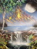Spray Paint Art-Fire Mountain by paulwk