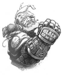 dwarf cyberpunk by Scebiqu