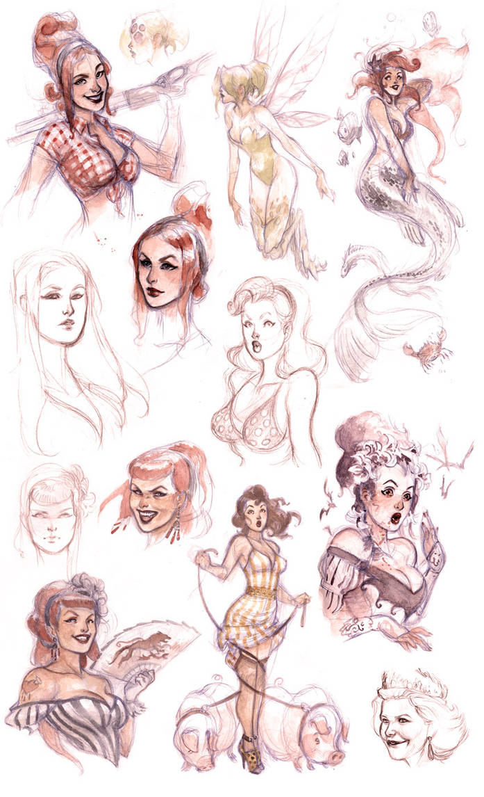 pinup sketches by Scebiqu