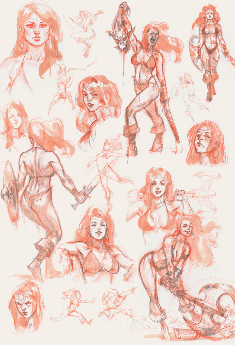 Red Sketches by Scebiqu