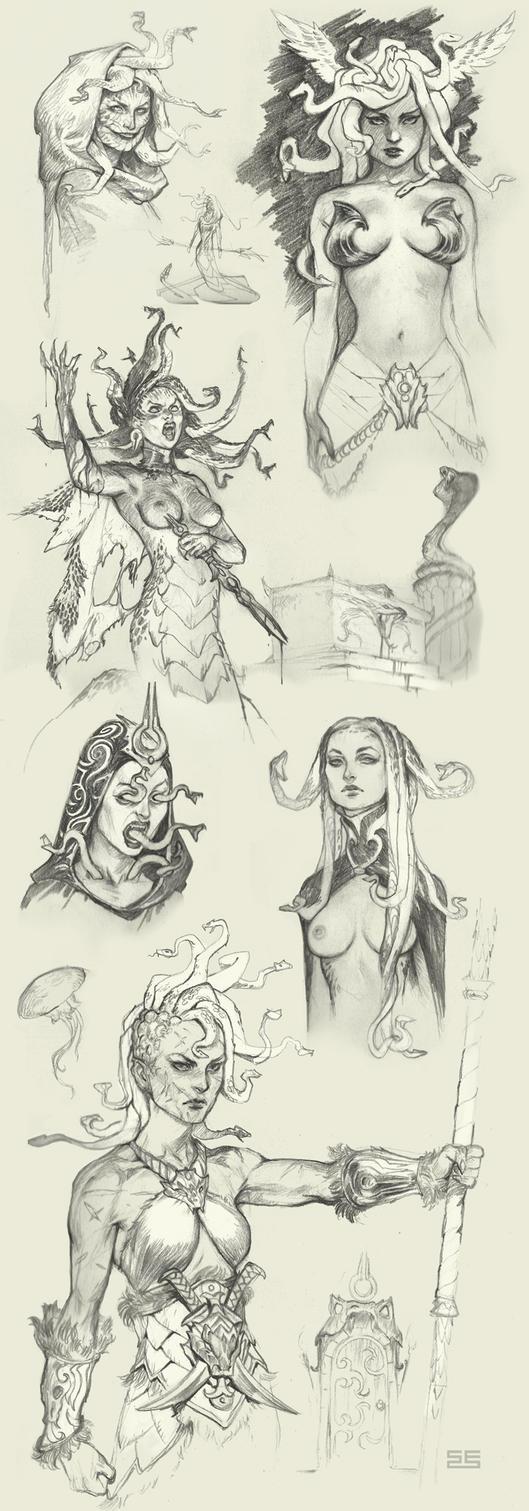 Medusa sketches by Scebiqu