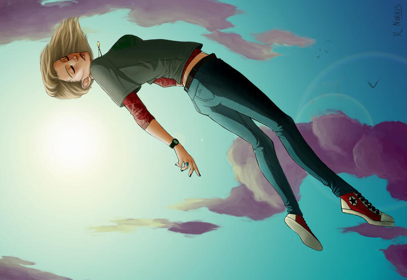 Falling Girl by surrealgreenGirl Falling From Sky Drawing