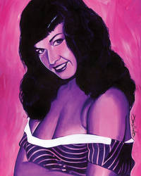 Versicolor Bettie Page Card Painting