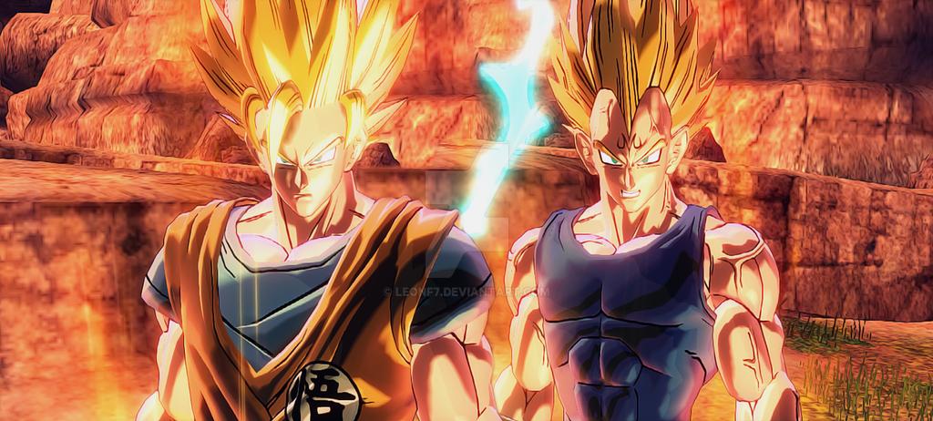 Goku VS. Majin Vegeta by LeonF7 on DeviantArt