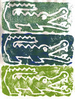 Alligator Floral Block Print by RamonaQ
