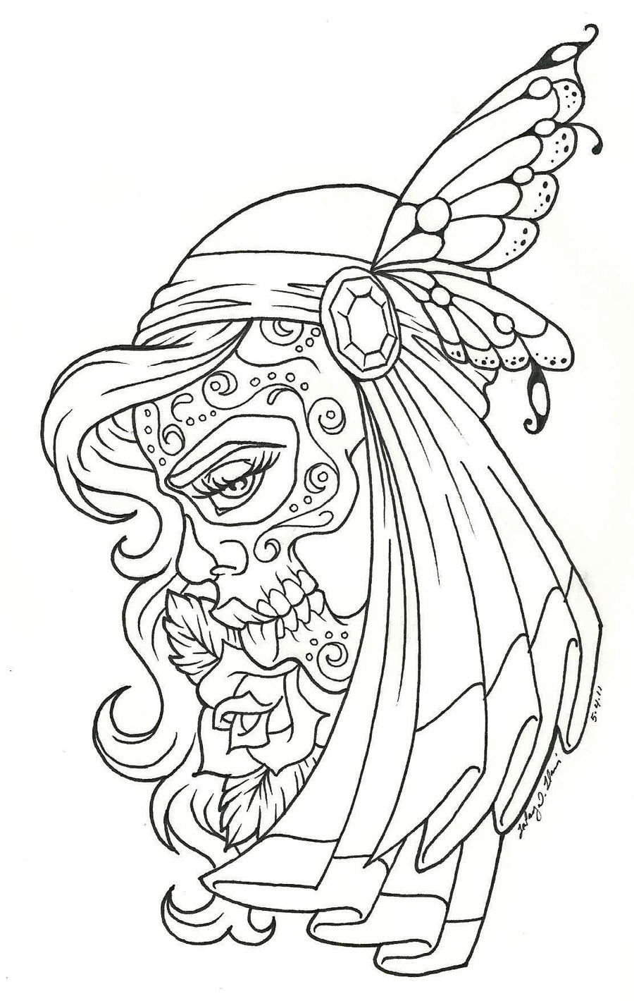 The gallery for dia de los muertos girl coloring pages for Day of dead coloring pages