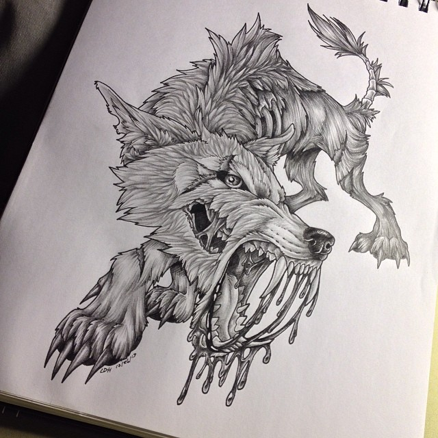 Zombie Wolf Drawing Fluffy The Zombie Wolf byZombie Wolf Drawing