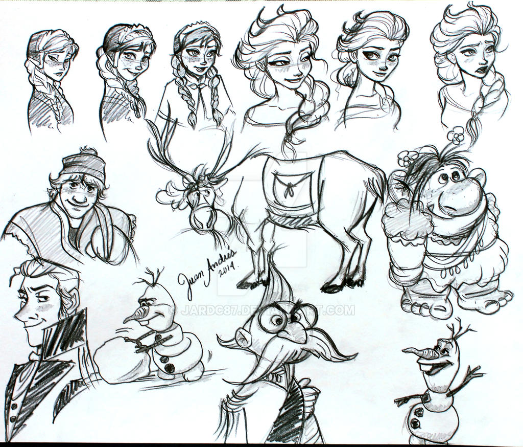 Doodle Frozen Characters by jardc87