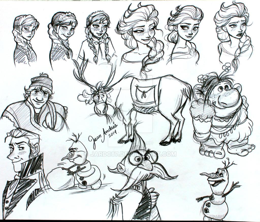 Doodle Frozen Characters By Jardc87