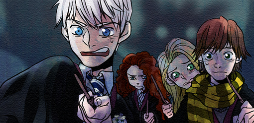 Cross over Big4 in Hogwarts by nechy0