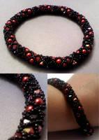 Smoulder Crystal-Pearl Bangle by beadg1rl