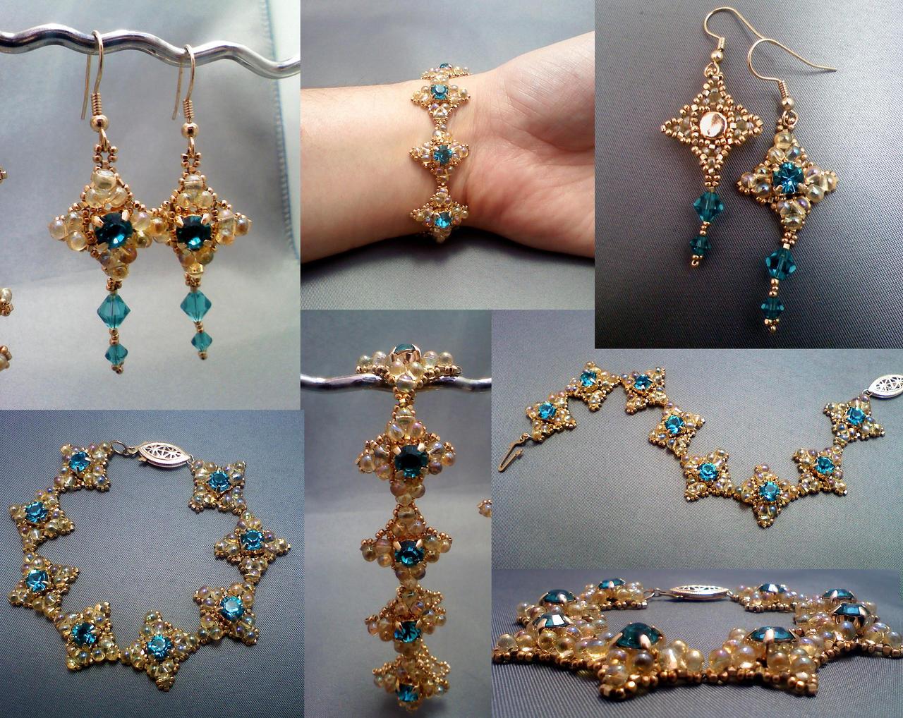 Coronet Bracelet Set Collage by beadg1rl