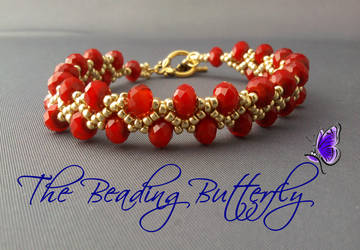 Netted Bracelet in Red Coral by beadg1rl