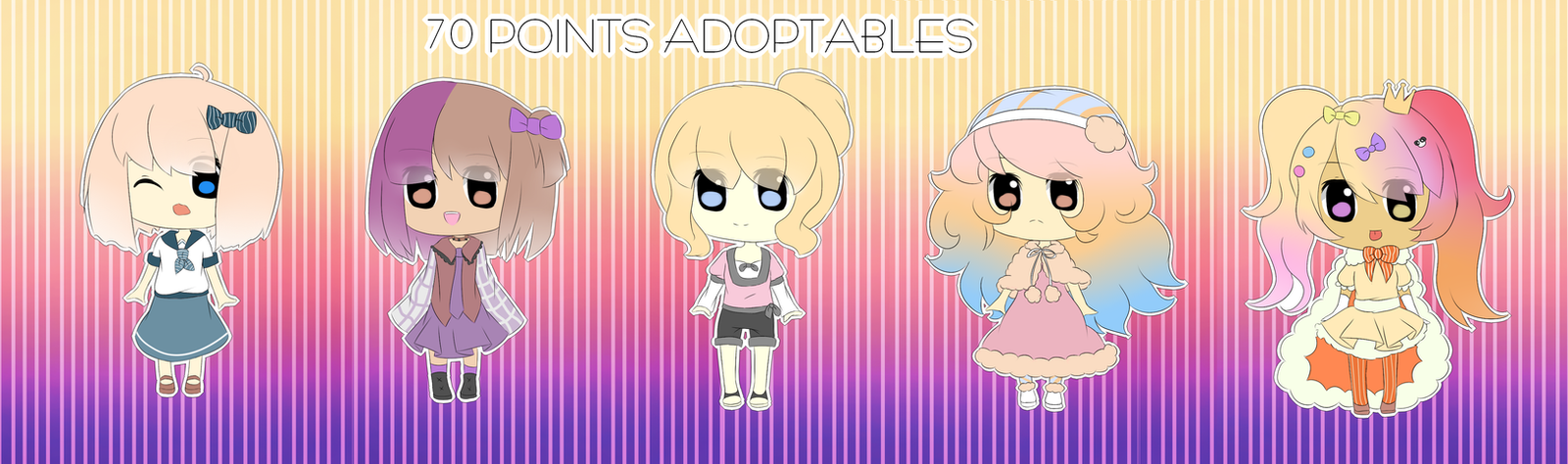 5 Chibi Girl Adoptables [OPEN] [2 Left!!!!] by Angel-chuu