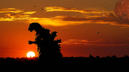 Gojira in the sunset with gorath by timothyallman