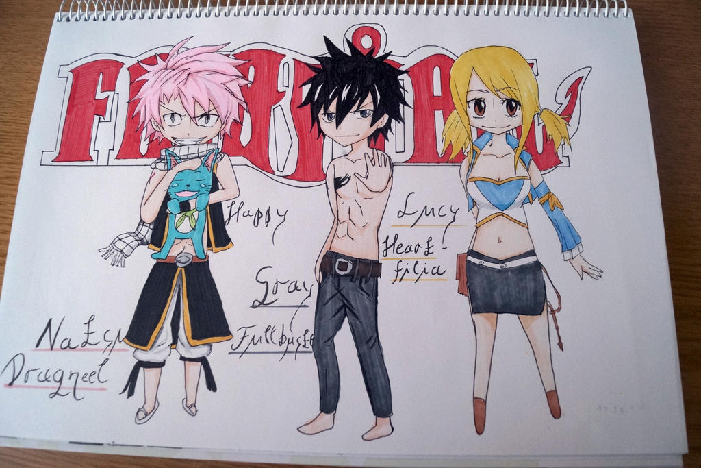 Natsu Gray Lucy Happy by DragoRaven