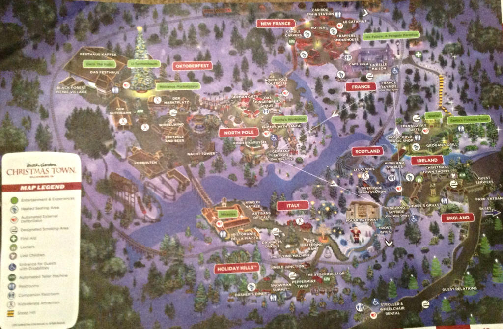 Map Of 2013 Busch Gardens 39 S Christmas Town By Smbzoo448 On Deviantart