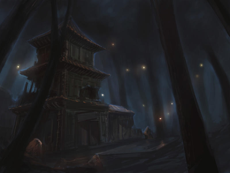 Shrine Ruins, Night by frankhong