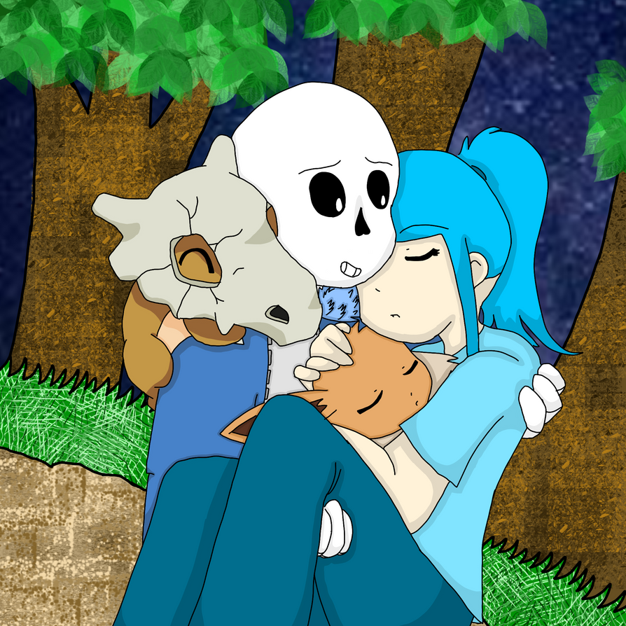Diamond And Sans With Cubone And Eevee by Mewvulpix25