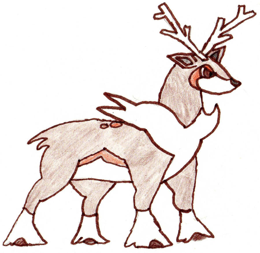 deerling coloring pages - sawsbuck pokemon
